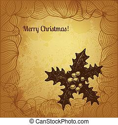 winterberry, mano, vector, artístico, dibujado, tarjeta de navidad