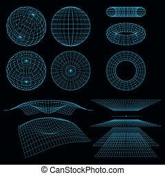 wireframe, symbols., matemáticas, vector, perspectiva, illustration., geometría