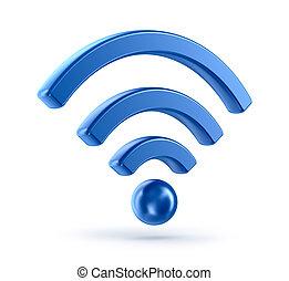 (wireless, network), wifi, icono, 3d