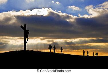 witth, ambulante, bueno, silueta, cristo, gente, viernes, arriba, cruz, hacia, colina, crucifixión, jesús, pascua