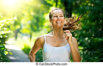 woman., entrenamiento, parque, al aire libre, corriente