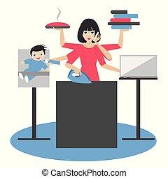 woman., mujer de negocios, bebé, calling., madre, coocking, trabajando, planchado, multitarea