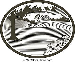 Woodcut con la escena del granero