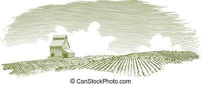 woodcut, elevador del grano, paisaje