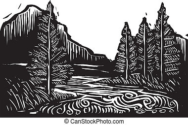 woodcut, paisaje