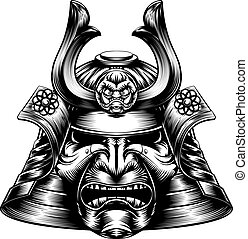 woodcut, samurai, máscara, estilo