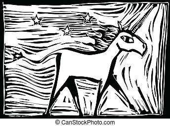 woodcut, unicornio
