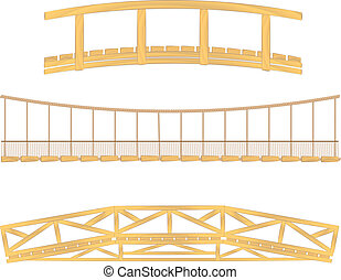 Wooden y el vector del puente