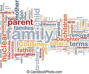 wordcloud, concepto, plano de fondo, ilustración, familia
