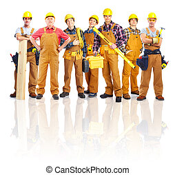 workers., industrial, grupo, profesional