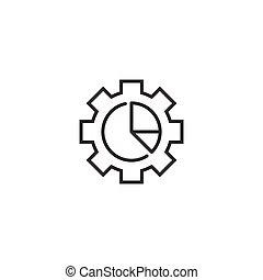 workflow, icono, engranaje, plano, organización, vector, blanco, gráfico, ilustración, diagrama, proceso, style., fondo., aislado, empresa / negocio, concept.