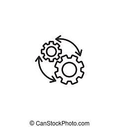 workflow, icono, engranaje, plano, organización, vector, blanco, ilustración, eficaz, proceso, style., fondo., aislado, empresa / negocio, concept.