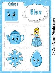 worksheet., azul, color., lindo, preschoolers., conjunto, flashcard, characters., colors., imagen, educación, vector, caricatura, illustration., kids., aprendizaje