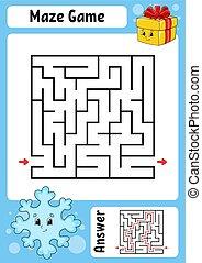 worksheet., revelado, labyrinth., juego, caricatura, preschool., conundrum., color, kids., lindo, lógico, style., rompecabezas, illustration., children., adivinanza, page., vector, divertido, actividad, educación, maze.