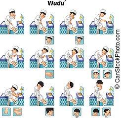 wudu, ablución, o, musulmán, completo, actuar, guía, conjunto, niño, paso