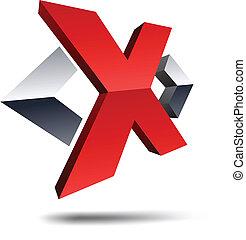 x, 3d, letter.