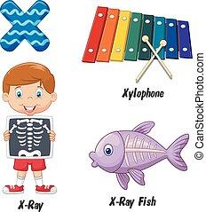 x, caricatura, alfabeto