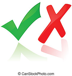 x, marca de verificación