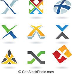 x, resumen, carta, iconos