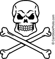 y, crossbones de cráneo