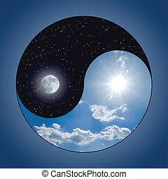 y, yin, -, yang, noche, día