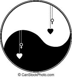 yang, símbolo, ying