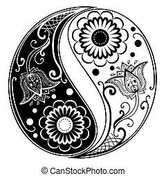 yang, yin, hecho, cachemira, ornamento
