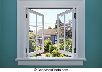 yarda, espalda, ventana, pequeño, shed., abierto