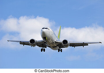 yendo, avión, chorro, tierra