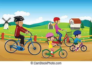 yendo, biking, familia , juntos