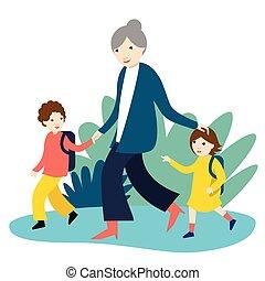 yendo, colegiales, illustration., escuela, vector, espalda, time., abuela, dos, nursery.