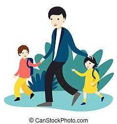 yendo, colegiales, illustration., escuela, vector, espalda, time., dos, padre, nursery.