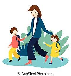 yendo, colegiales, illustration., escuela, vector, madre, espalda, time., dos, nursery.
