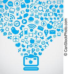 yendo, medios, moderno, abajo, computadora, social, contenido