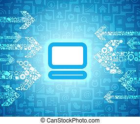 yendo, pictogram, medios, flechas, contenido, encendido, computadora