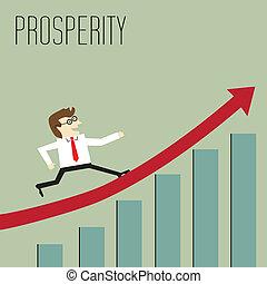 yendo, por, gráfico, prosperidad, pico