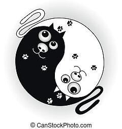 ying, símbolo, gatos, yang