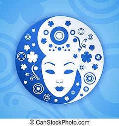 ying, símbolo, mujer, yang, cara