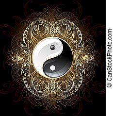 yinyang, símbolo, (yin-yang)