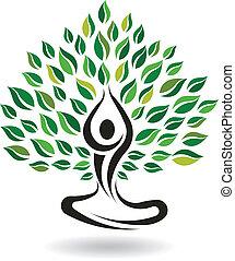 Yoga fácil de posar, vector de logo