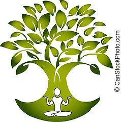 Yoga figura con vector de logotipo