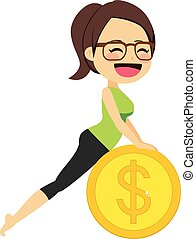 Yoga mujer dinero