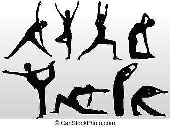Yoga posa mujeres silueta