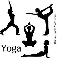 Yoga posa vector de silueta