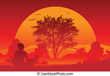 yoga, salida del sol