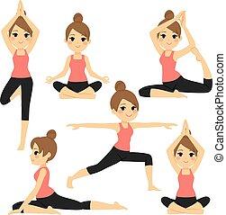 Yoga varias poses mujer