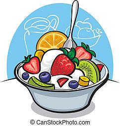 yogur, fruta, strawbe, ensalada