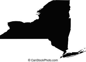 york, negro, state., nuevo, ilustración, map., silueta, vector