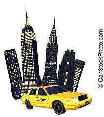 york, nuevo, ciudad, taxi
