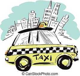 york, nuevo, taxi